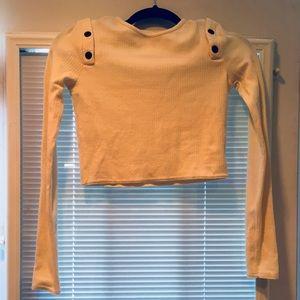 NWOT Zara cream crop shirt